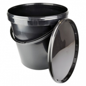 Black Bucket and Lid 20lt, undrilled